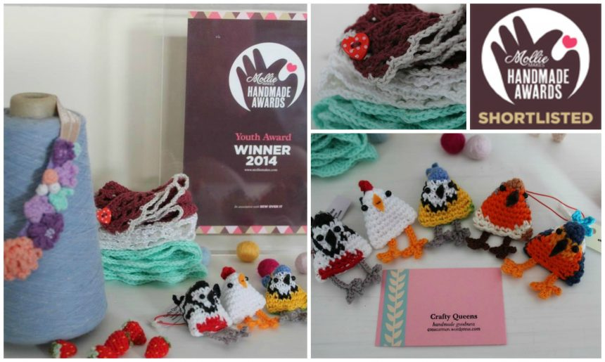 My crochet birds and the award I won at Mollie Makes Handmade Awards