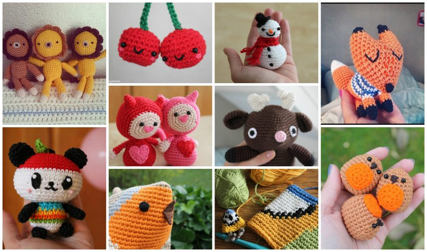 a collage of my crochet projects, lots of amigurumi