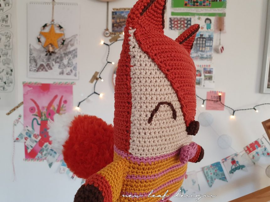 friendly fox plushy side view