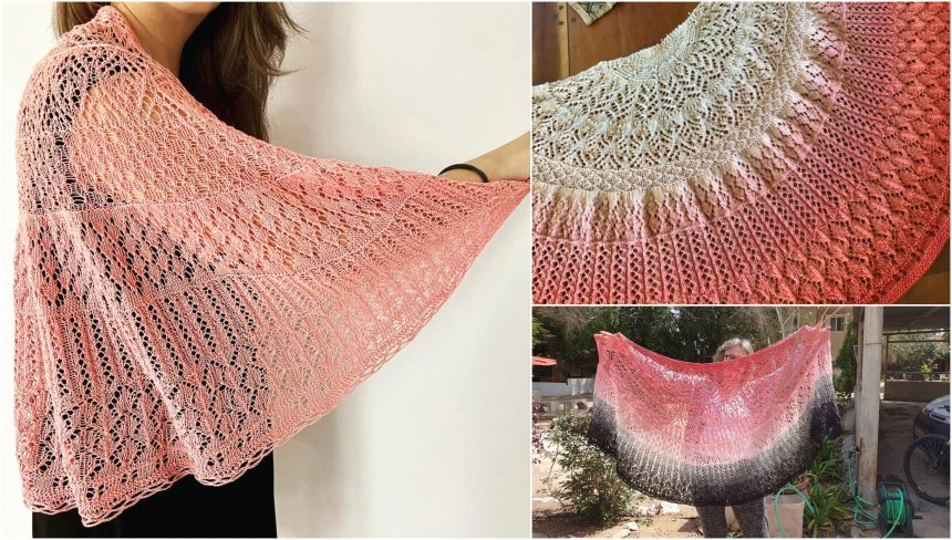 cosy moments shawls knit in pink yarn