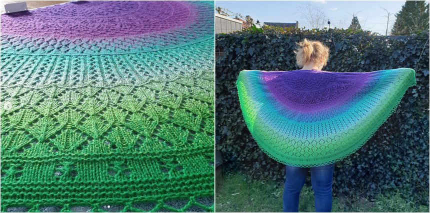 cosy moments shawl knit up in a beautiful yarn going from purple to green