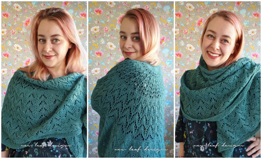 person wearing scent of the pine shawl in three different ways