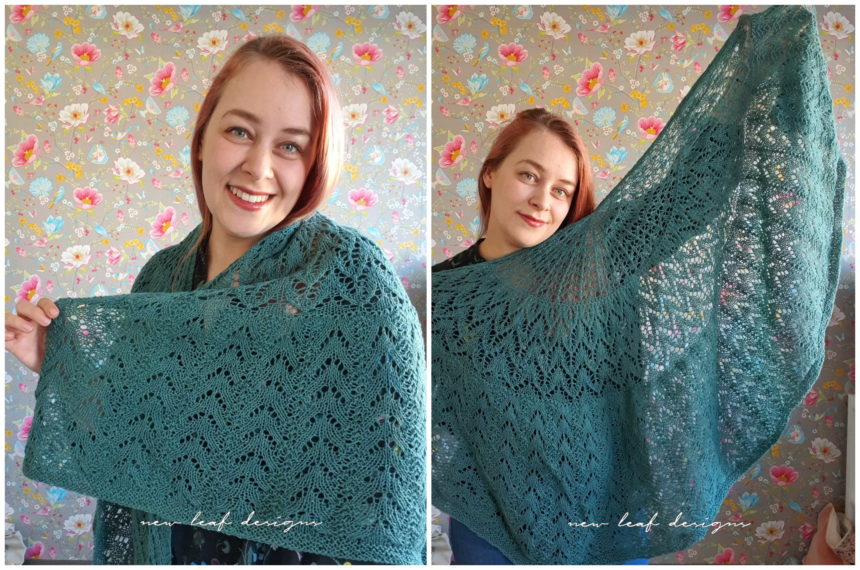 person holding up scent of the pine shawl