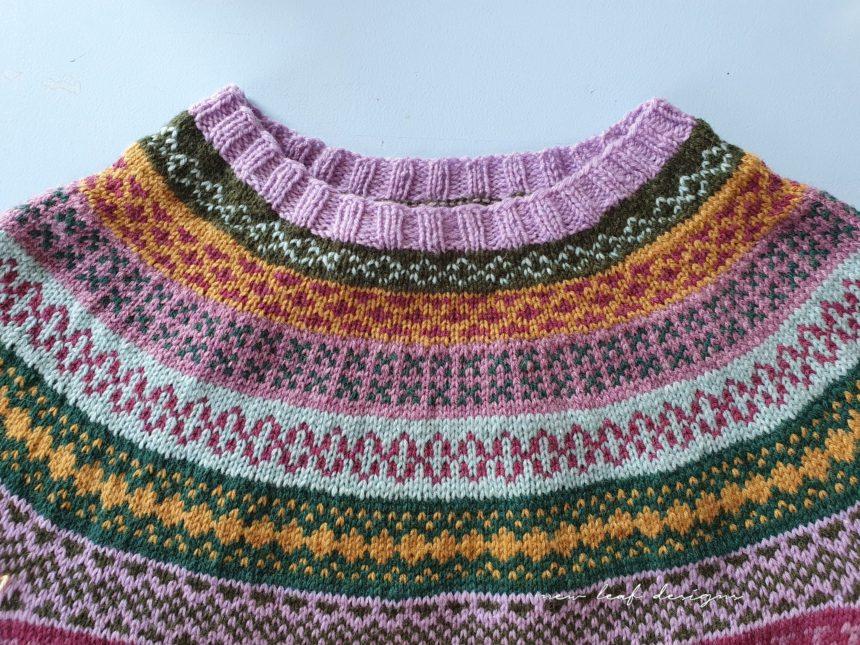 yoke of colourwork knit sweater