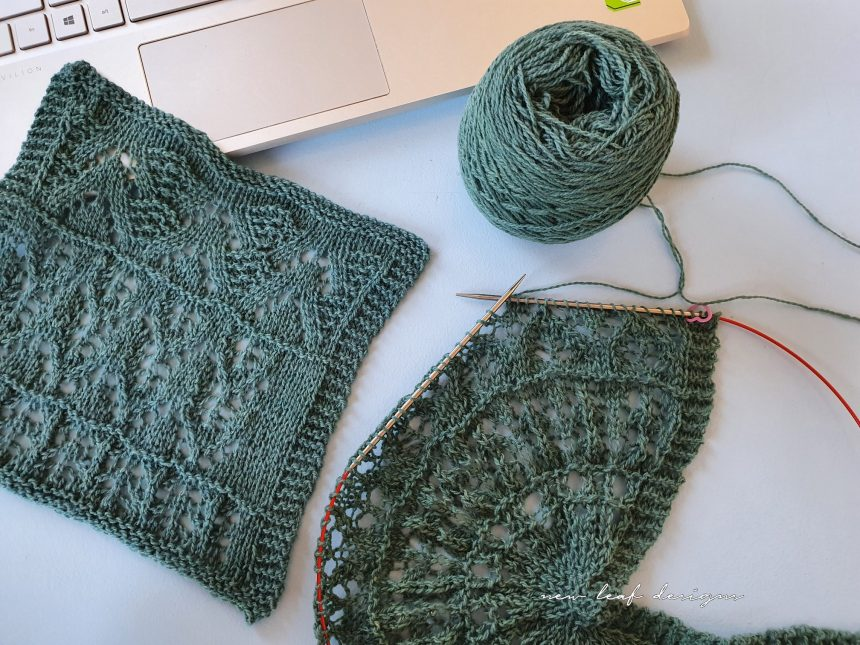 scent of the pine shawl swatch and yarn flat-lay on desk