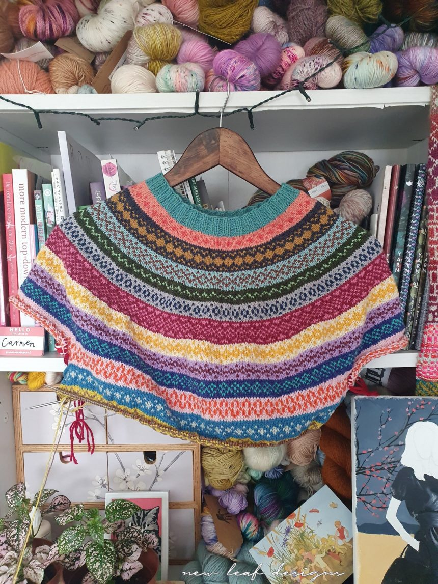 knit sweater with rainbow colours