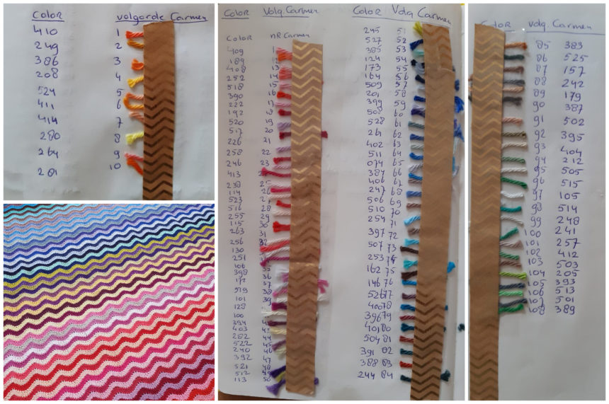 pictures of notebook with scraps of yarn taped to it with numbers written on the side