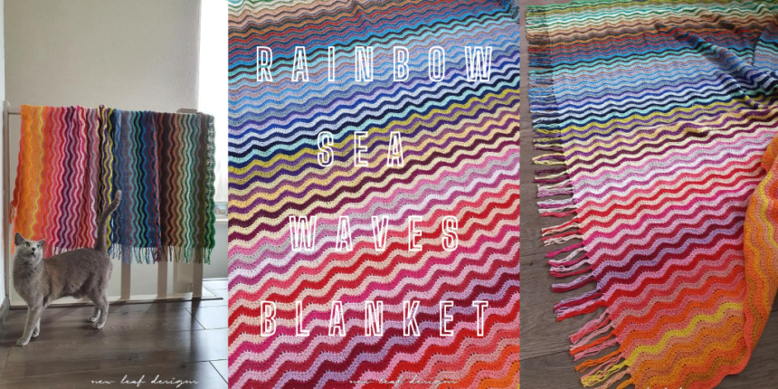 rainbow sea waves blanket cover image