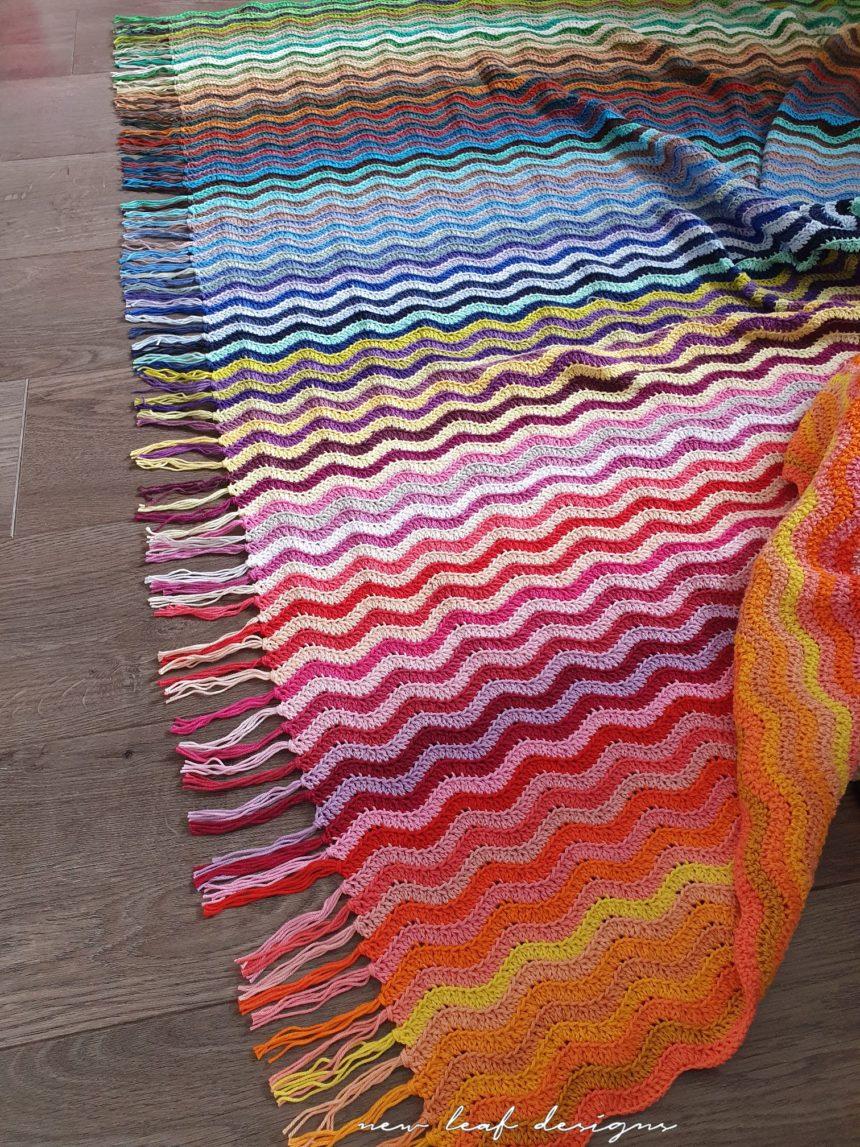 rainbow sea waves blanket with fringe