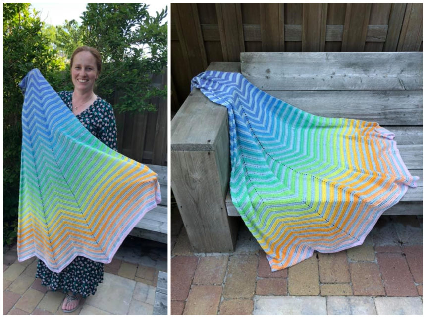 tester version of chevron boulevard shawl in rainbow colours