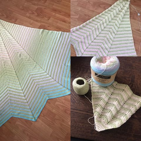 tester version of chevron boulevard shawl in pastel colours
