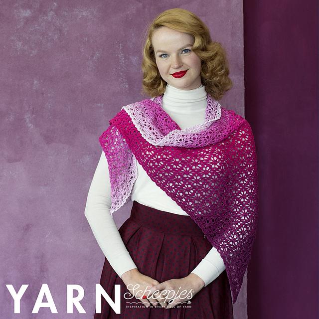 scheepjes yarn bookazine frozen rose shawl
