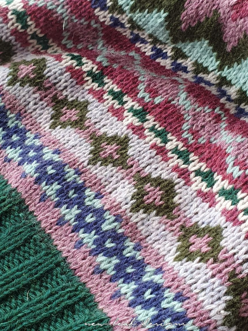 Home Hat knit fabric up close, showing the stranded colourwork in detail