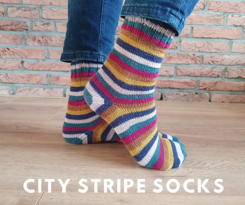 Close up of two feet showing City Stripe Socks